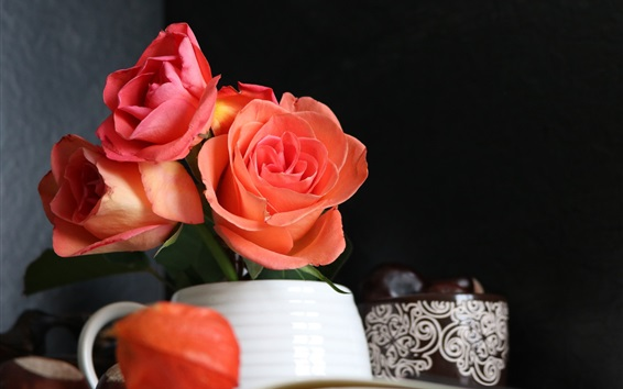 Wallpaper Pink rose, cup, book