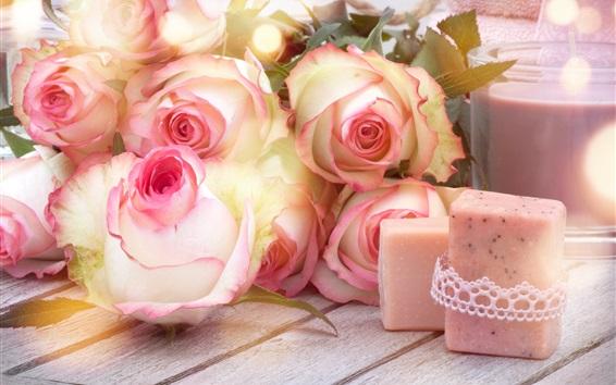 Wallpaper Pink roses, soap