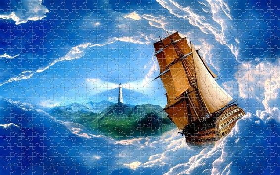 Wallpaper Puzzles, lighthouse, sailboat, sea, waves, clouds