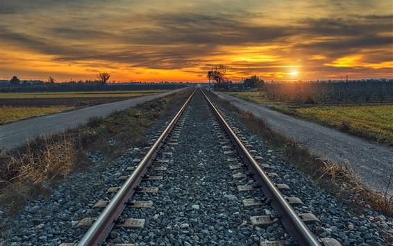 Wallpaper Railroad, sunset