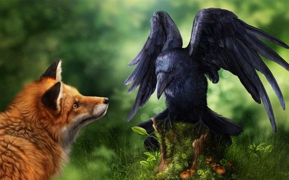 Wallpaper Raven and fox