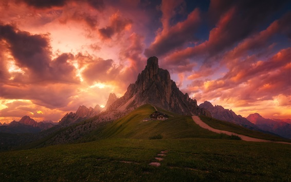 Wallpaper Red clouds, sky, evening, house, mountains, meadows, Alps