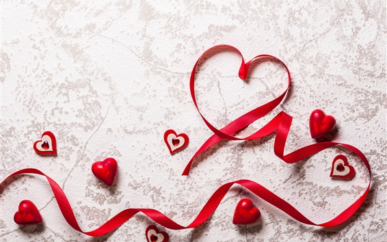 Wallpaper Red love hearts, ribbon