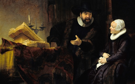 Wallpaper Rembrandt, Preacher Anslo and His Wife, painting