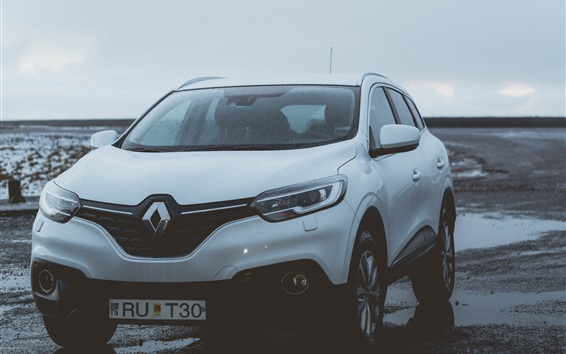 Wallpaper Renault white SUV car front view, water drops