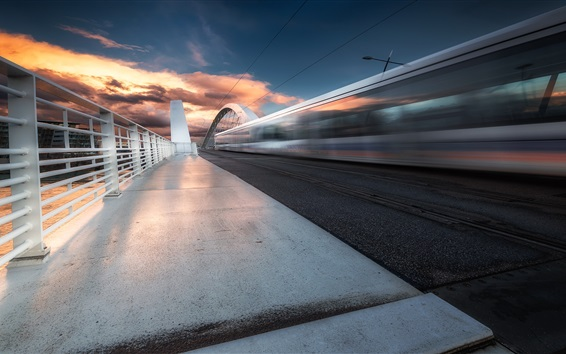 Wallpaper Rhone-Alpes, bridge, train, speed, Lyon, France