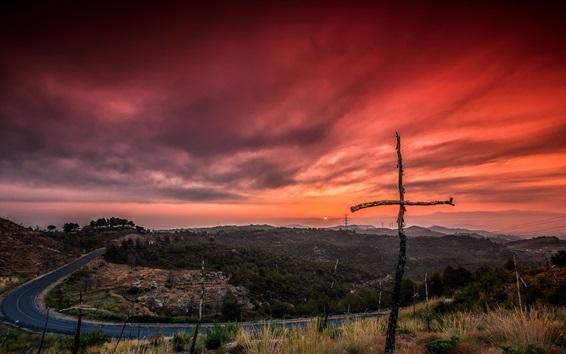 Wallpaper Road, trees, crosses, sunset, red sky