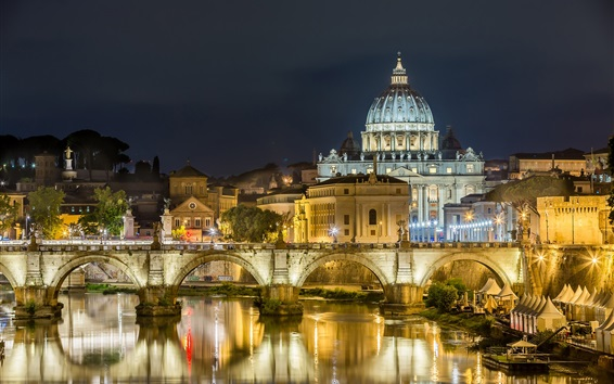 Wallpaper Rome, night, lights, river, bridge, Palace, Italy