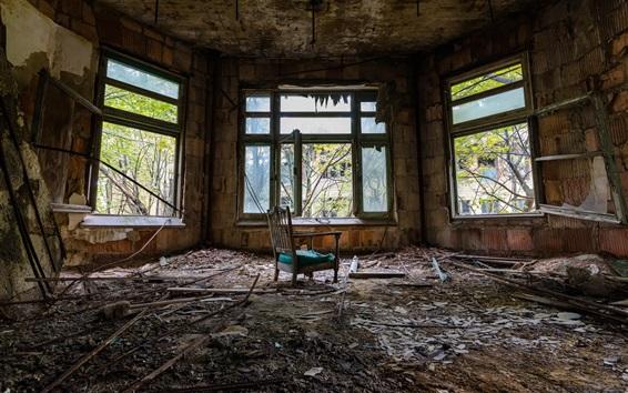Fond d'écran Chambre, fenêtres, chaise, saleté, ruines