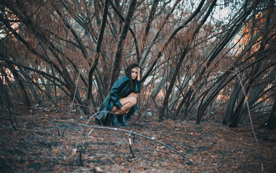 Wallpaper Sadness girl, leather coat, trees