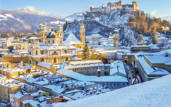 Wallpaper Salzburg Cathedral, Austria, winter, snow