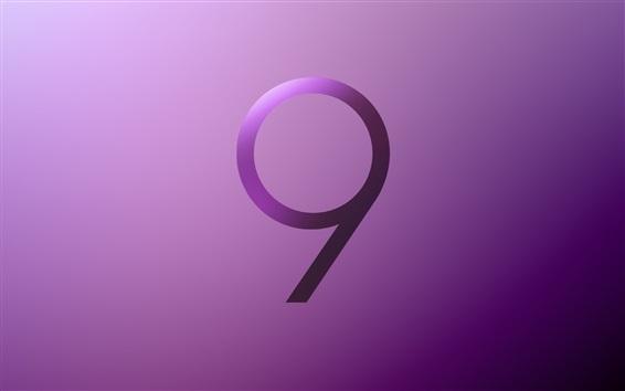 Обои Логотип Samsung Galaxy S9, фиолетовый стиль