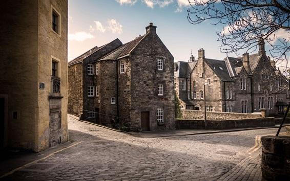 배경 화면 스코틀랜드, 에딘버러, 영국, 도시, 주택, 도로