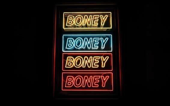 Fond d'écran Panneau d'inscription, mots d'inscription, néon, nuit