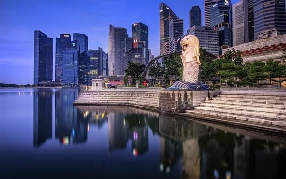 Papéis de Parede Cingapura, arranha-céus, lago, crepúsculo