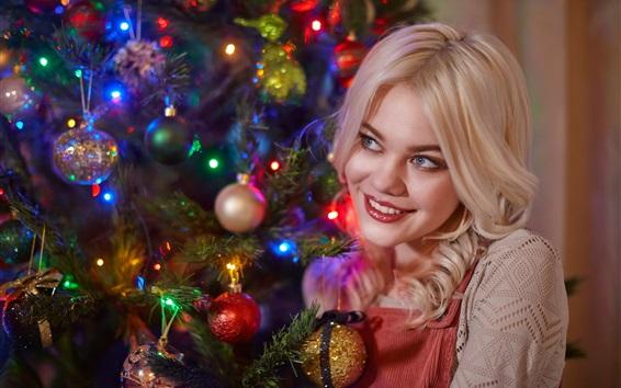 Wallpaper Smile blonde girl, Christmas tree, balls, decoration