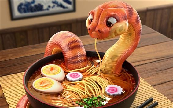 Wallpaper Snake eat noodle, creative design