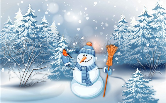 Wallpaper Snowman, winter, snow, trees, art picture