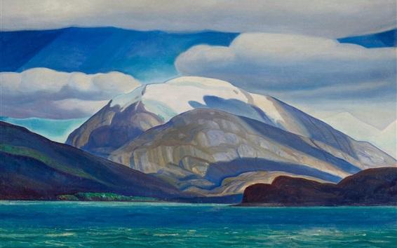 Fondos de pantalla América del Sur, mar, montañas, pintura al óleo, Rockwell Kent