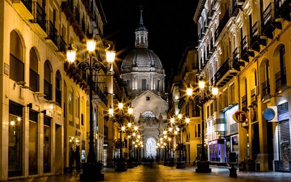 Papéis de Parede Espanha, saragoça, catedral, rua, edifícios, luzes, noturna