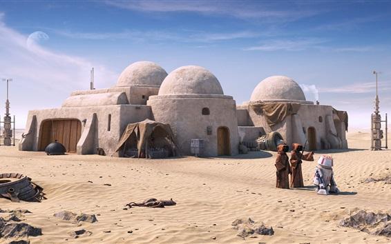 Wallpaper Star Wars, Tatooine, robot, desert
