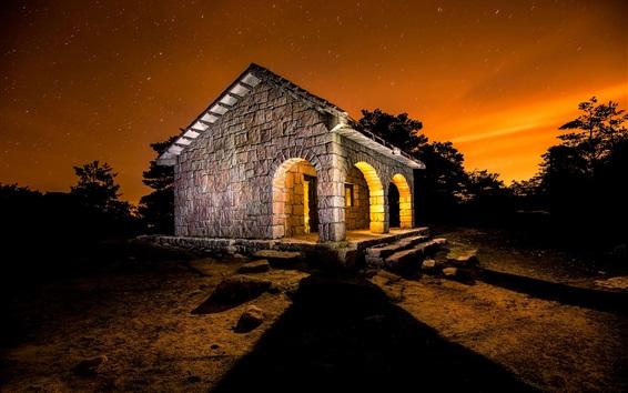 Wallpaper Stone house, light, night, starry