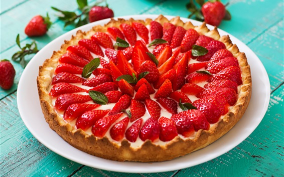 Wallpaper Strawberry pie, fruit cake