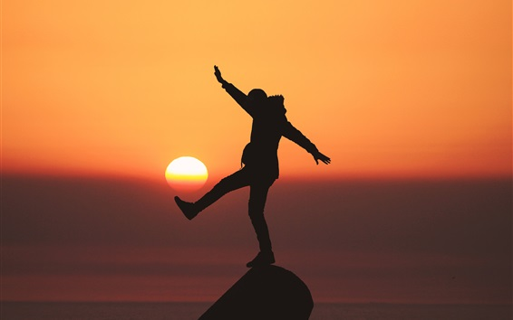 Wallpaper Sun, sunset, man silhouette