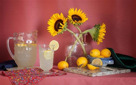 Papéis de Parede Girassóis, limões, copos de vidro, bebidas