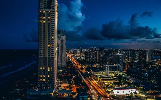 Fond d'écran Sunny Isles Beach, gratte-ciels, ville, nuit, lumières, nuages, USA