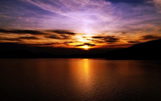 배경 화면 일몰, 하늘, 구름, 호수