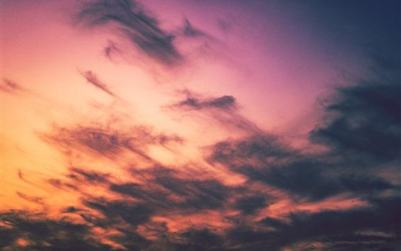 Wallpaper Sunset sky, clouds