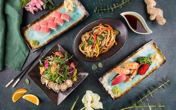 Wallpaper Sushi, rolls, noodles, salad, food