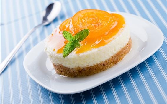 Wallpaper Sweet cake, dessert, apricot, plate, spoon