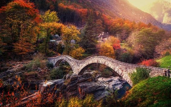 Fondos de pantalla Suiza, Alpes, puente, río, árboles, otoño
