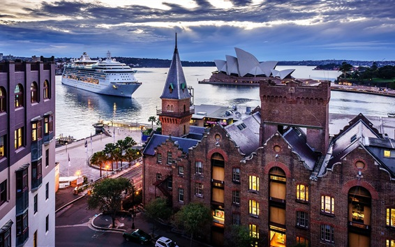 Wallpaper Sydney, Australia, city, houses, ship, sea