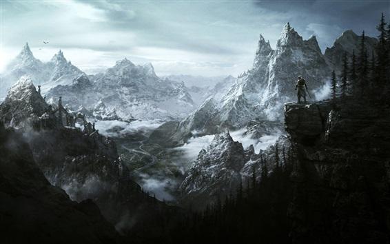 Wallpaper The Elder Scrolls V: Skyrim, mountains, art picture