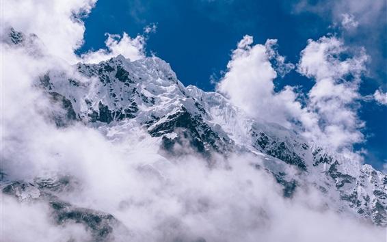 壁紙 厚い雲、雪山