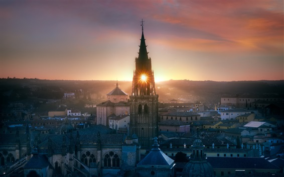 Wallpaper Toledo, Spain, church, city, evening, sunset