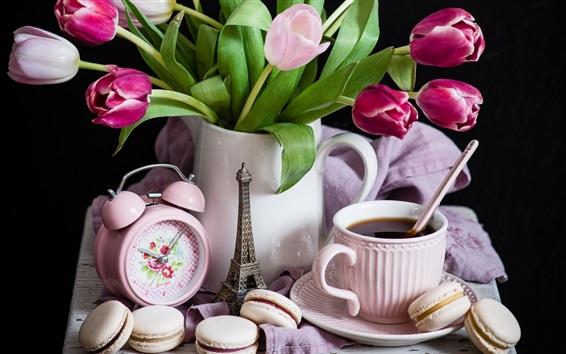 壁紙 チューリップ、マカロン、紅茶、目覚まし時計