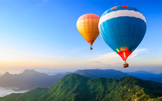 Wallpaper Two hot air balloons, mountains, sky