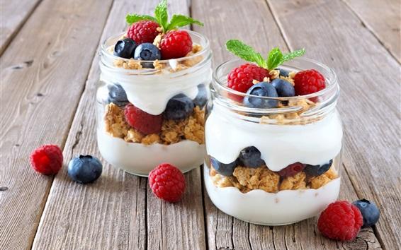 Wallpaper Two jars yogurt, muesli, breakfast