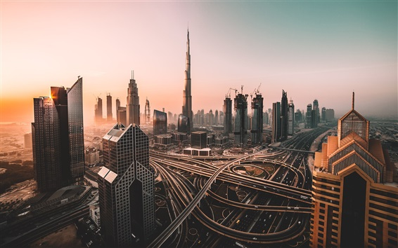 Wallpaper UAE, Dubai, skyscrapers, roads, morning