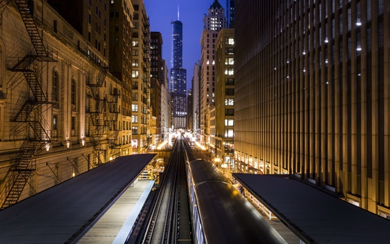Wallpaper USA, Chicago, city, buildings, metro, night, lights