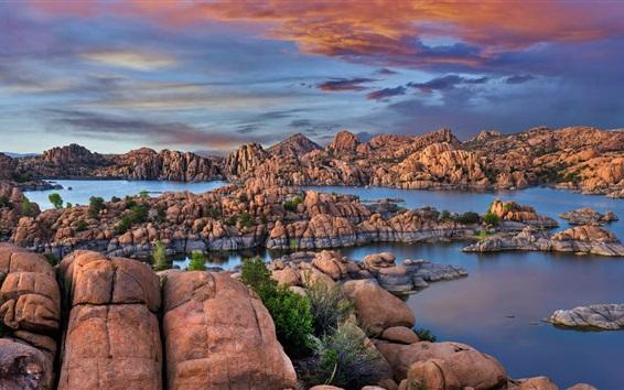 Wallpaper USA, Granite Dells, Watson Lake, rocks