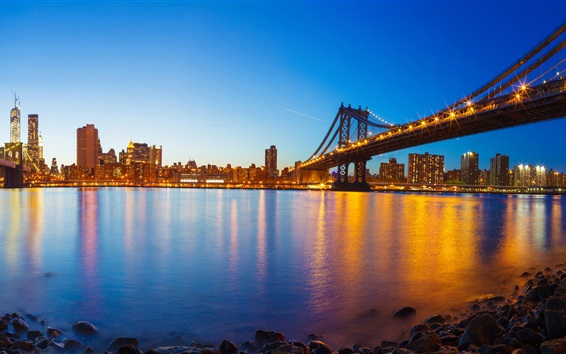 Wallpaper USA, Manhattan, New York, river, evening, bridge, lights