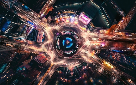 Wallpaper USA, New York, city, street, movement light, night, top view