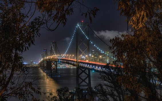 Wallpaper USA, San Francisco, California, Bay Bridge, night, illumination