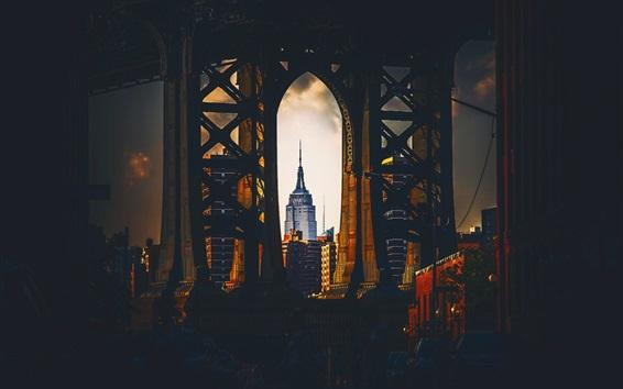 Fond d'écran États-Unis, Empire State Building, New York, pont, voûte, nuit