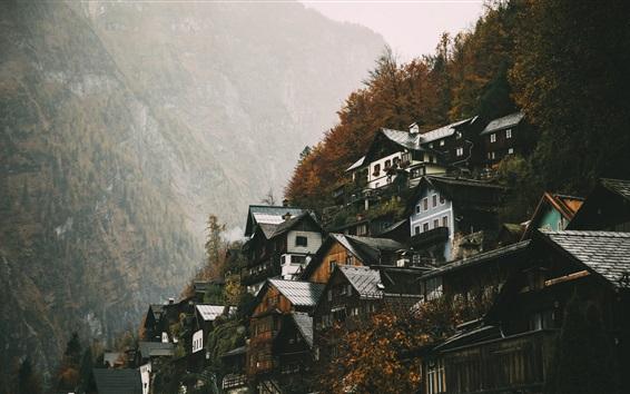 Wallpaper Upper Austria, Hallstatt, houses, mountains